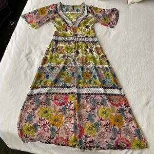 Zara floral kimono long robe dress shirt